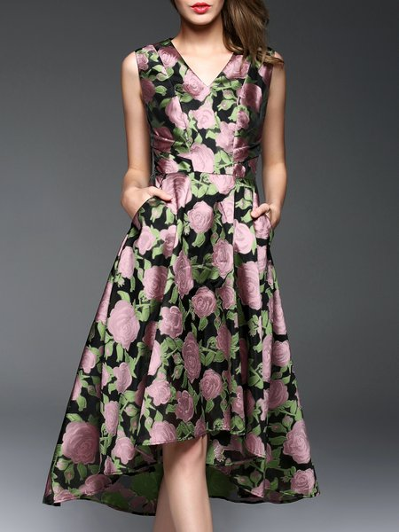 Pink Elegant V Neck Floral-print Midi Dress