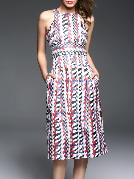 Multicolor Geometric Sleeveless Crew Neck Midi Dress