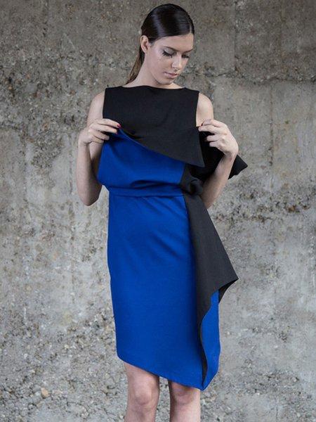 Black Color-block Asymmetrical Statement Bateau/boat Neck Midi Dress