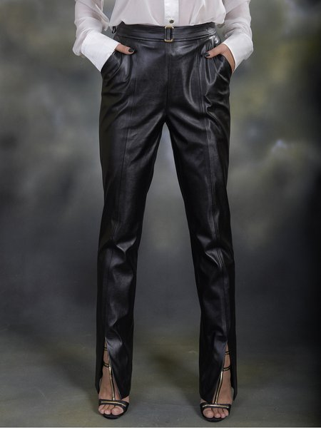 Black H-line PU Simple Straight Leg Pant