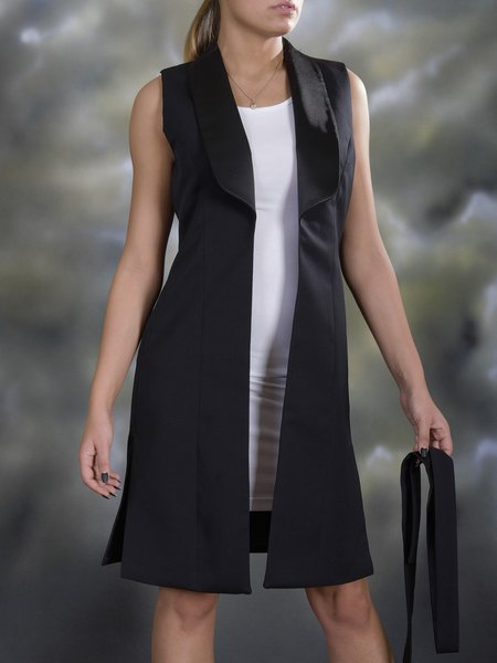 Black Lapel Simple Cotton H-line Gilet