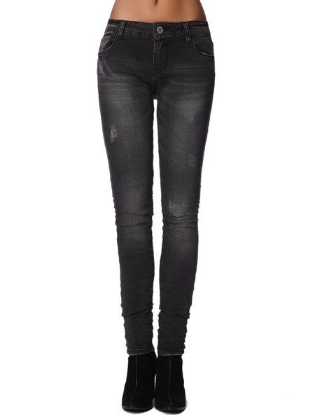 Black Casual Washed Cotton-blend Plain Skinny Leg Pants