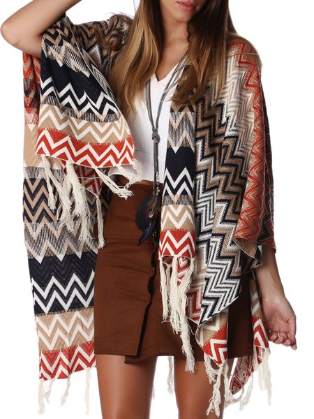Beige Asymmetrical Long Sleeve Poncho