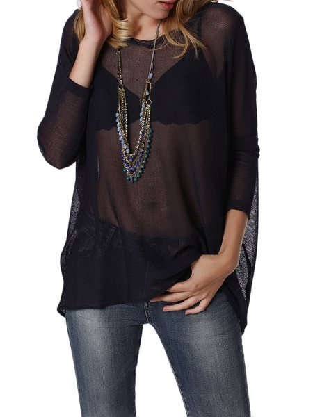 H-line Casual See-through Look Long Sleeved Top
