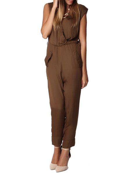 Sleeveless Polyester Elegant V Neck Plain Jumpsuit