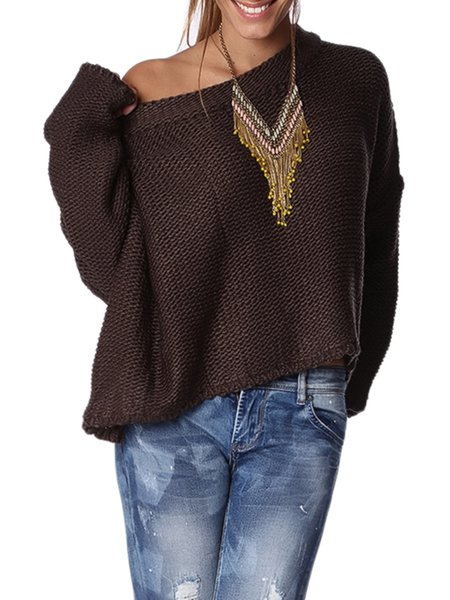 Brown Crew Neck Long Sleeve Asymmetrical Plain Sweater