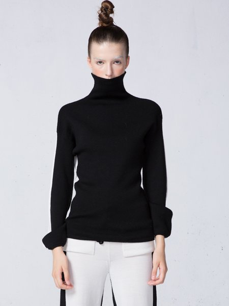 Long Sleeve Casual Wool Blend Color-block Sweater
