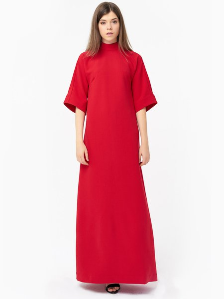 Red Stand Collar Viscose Simple Maxi Dress