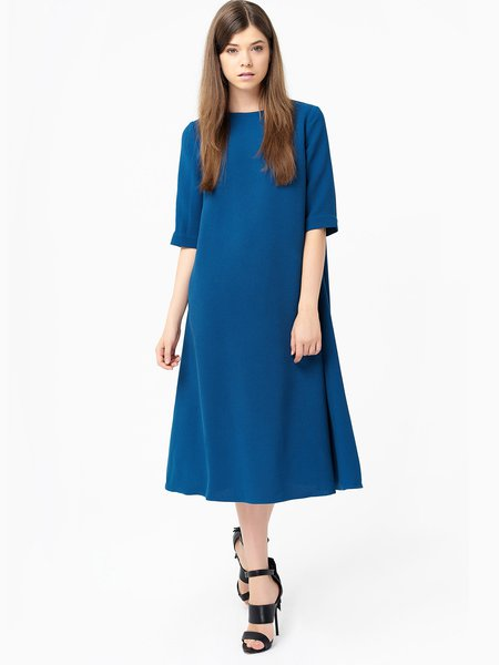 Blue A-line Cutout Simple Midi Dress