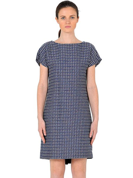 Navy Blue Short Sleeve Paneled Wool Blend Midi Dress