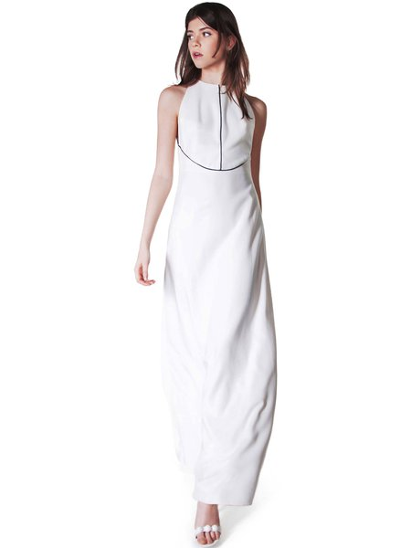 H-line Crew Neck Elegant Piping Sleeveless Evening Dress