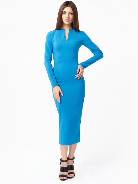 Sky Blue Plain Sheath Long Sleeve Viscose Midi Dress