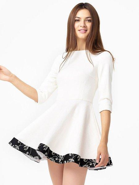 Cotton-blend Crew Neck Girly 3/4 Sleeve Mini Dress