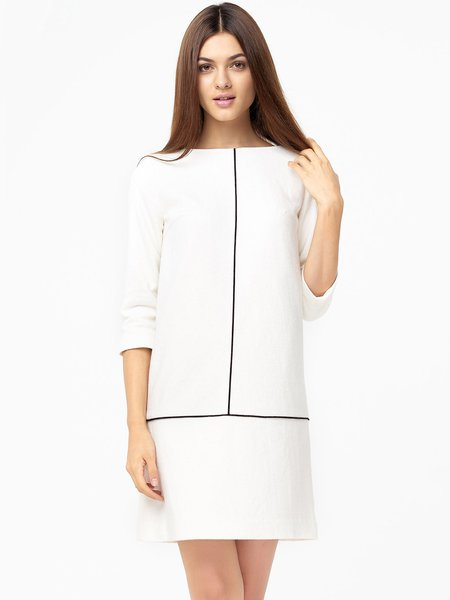 White Crew Neck Embellished Simple Midi Dress
