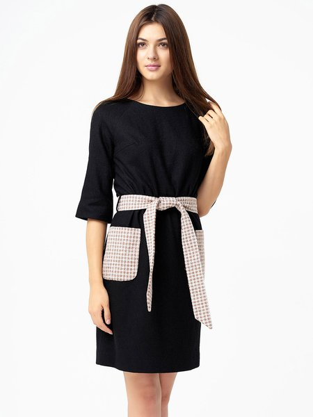 Black Jacquard Half Sleeve Color-block Midi Dress