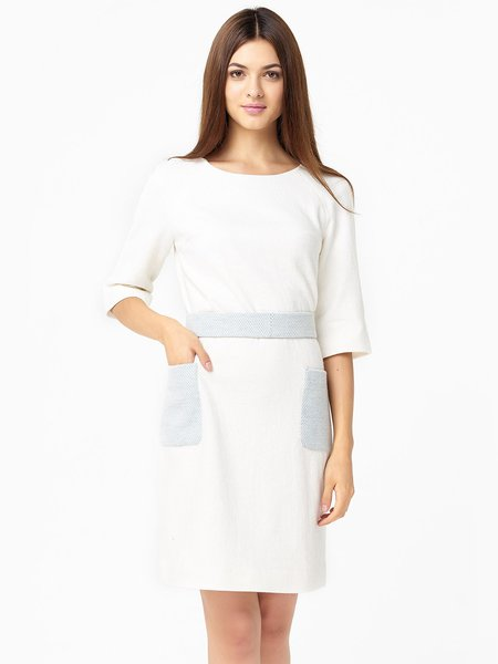 White Jacquard Girly Paneled Wool Blend Midi Dress