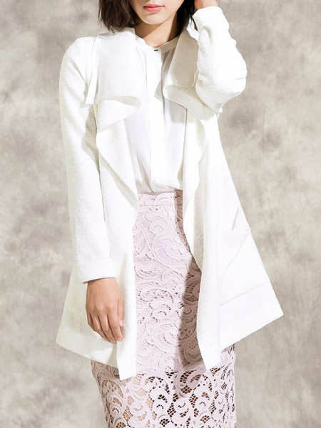 White Simple Polyester Coat