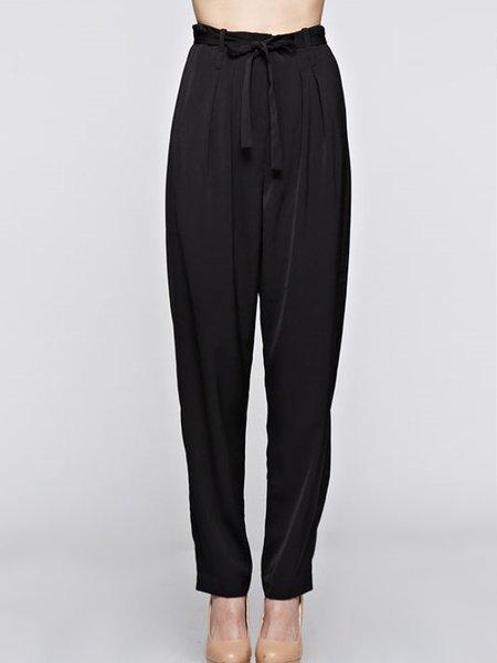 Black Elegant Solid Polyester H-line Straight Leg Pants
