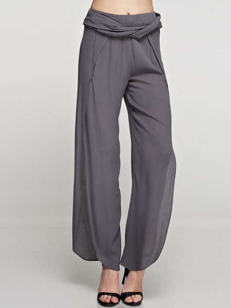 Gray Elegant Slit Rayon Wide Leg Pants