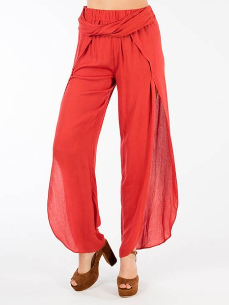 Red Elegant Slit Solid Wide Leg Pants