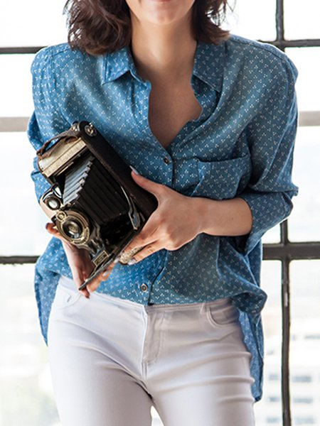 Blue Denim Casual H-line Printed Blouse