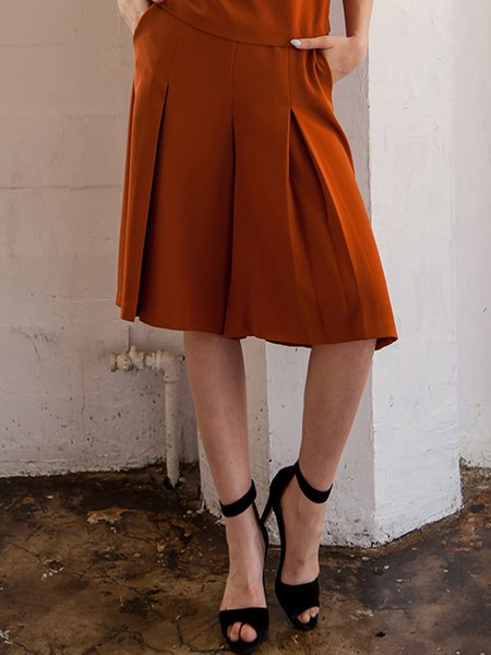 Rust Simple Polyester Plain Culottes Pants