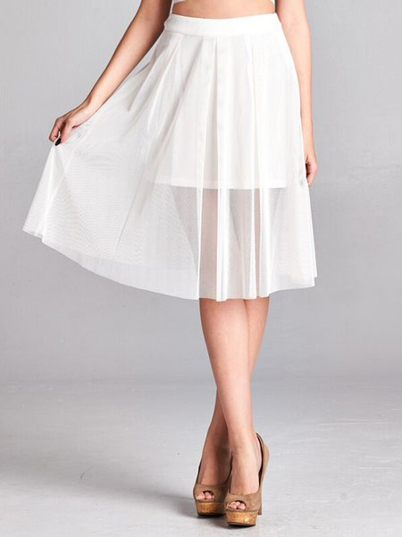White Simple Plain Polyester Midi Skirt