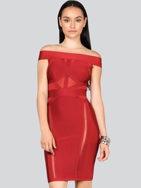 Burgundy Off Shoulder Short Sleeve Bandage Dress