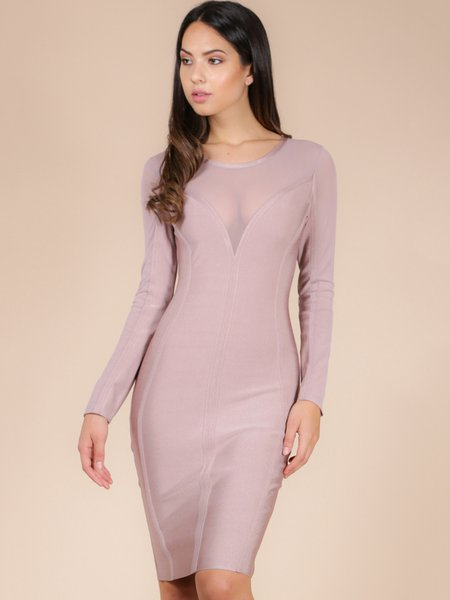 Plain Polyester Crew Neck Long Sleeve Sexy Bandage Dress