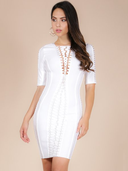 White Metal Ring Lace-up Bandage Dress