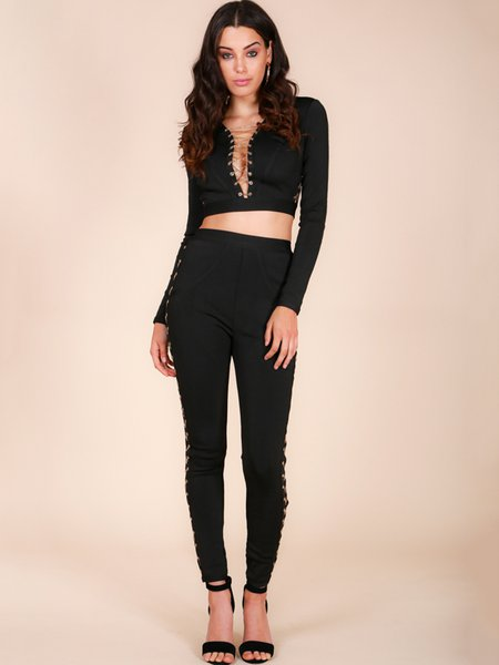 Sexy  Chain Lace-up Two Piece Bandage Pants Set