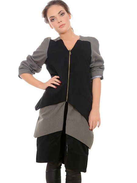 Black Paneled Wool Statement Asymmetrical Coat