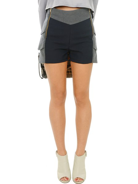 Gray Color-block H-line Wool Statement Shorts