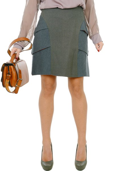Gray Elegant A-line Wool Tiered Mini Skirt