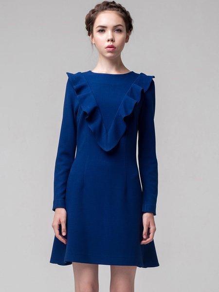 Dark Blue Long Sleeve A-line Bateau/boat Neck Solid Mini Dress