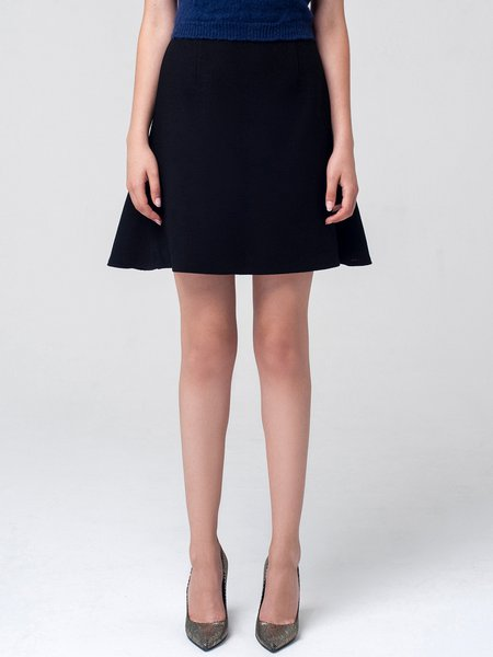 Black Solid Wool Simple A-line Mini Skirt - StyleWe.com