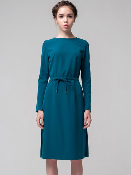 Green Slit Solid A-line Long Sleeve Midi Dress