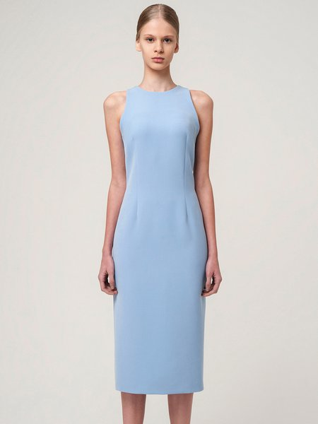 Light Blue Viscose Crew Neck Elegant Midi Dress