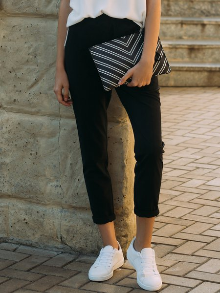 Black Solid H-line Cotton Simple Skinny Leg Pants