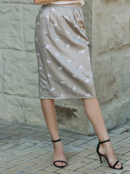 Silver Satin Elegant Animal Print Sheath Pencil Skirt