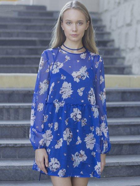 Floral-print Chiffon Boho Long Sleeve Mini Dress