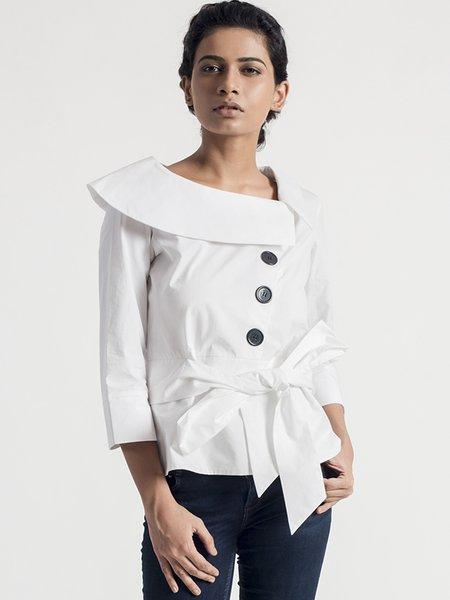 White 3/4 Sleeve Asymmetrical Cotton Blouse