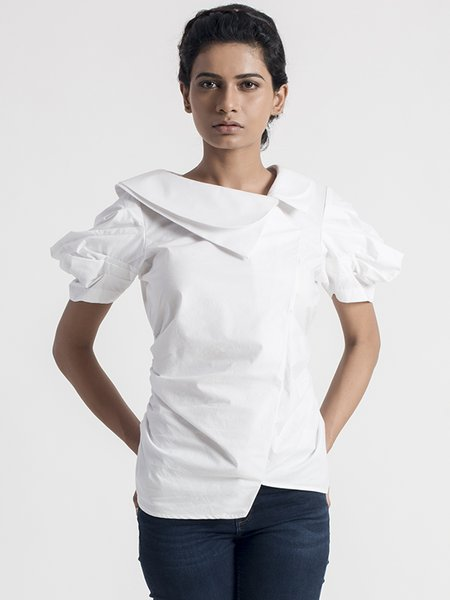 White Statement Ruched Cotton Blouse