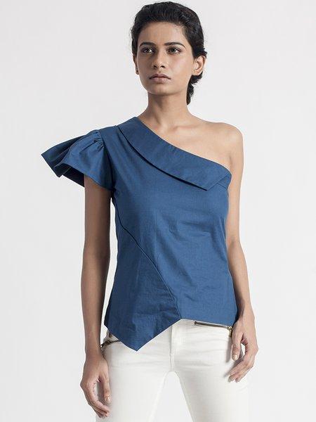 Simple Single Sleeve Asymmetrical Solid Blouse