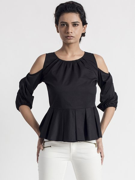 Black Cold Shoulder Simple Pleated Satin Solid Blouse