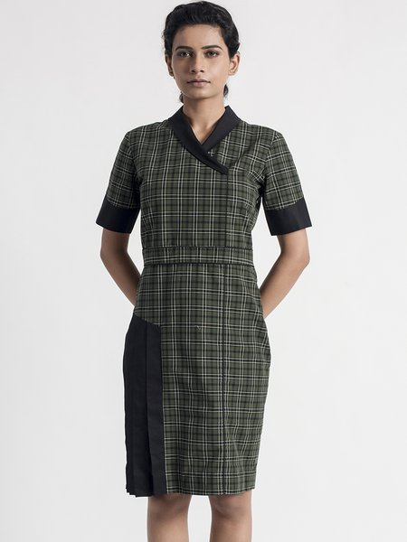 Shirt Collar Elegant Asymmetrical Cotton Short Sleeve Midi Dress