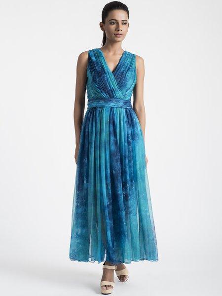 Blue Elegant V Neck A-line Printed Maxi Dress