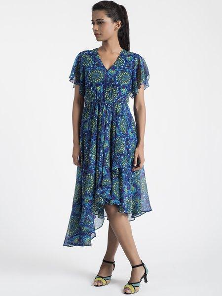 Dark Blue Floral V Neck Silk-chiffon Frill Sleeve Midi Dress