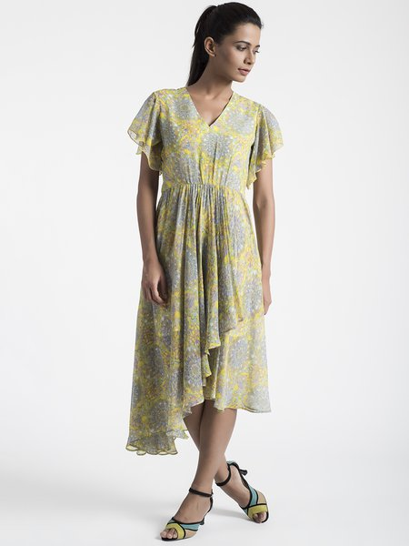 Yellow Silk-chiffon V Neck Frill Sleeve Midi Dress