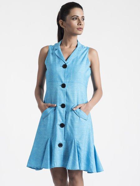 Blue Lapel Cotton Solid Elegant Midi Dress